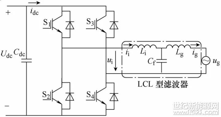 图1 单相并网lcl型逆变器主电路拓扑结构
