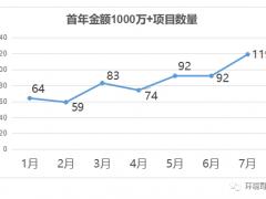 """7月份再创新高 单月开标119个""""首年金额'1000万+'项目及标段"""""""