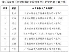 第七批光伏制造行业规范条件企业名单:9家入选 23家企业拟撤销
