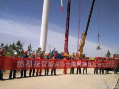 协合公司风光储智能微电网项目分散式风电风机吊装顺利完工