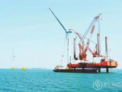 福能三川海上风电项目顺利完成第7台7MW风机吊装