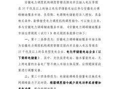充放电可分别报价 安徽调整储能参与调峰辅助服务市场规则