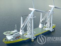 新型双起重机安装船 一次安装两台大风机
