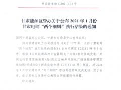 """光伏项目202个!2021年1月甘肃电网""""两个细则""""执行结果的通知"""