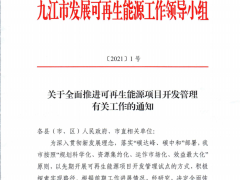 暂停近4个月后,江西九江市全面恢复新能源项目审批